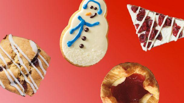 PHOTO: Holiday pastries include a cranberry orange scone, snowman cookie, sugar plum danish and cranberry bliss bars.  (Starbucks)