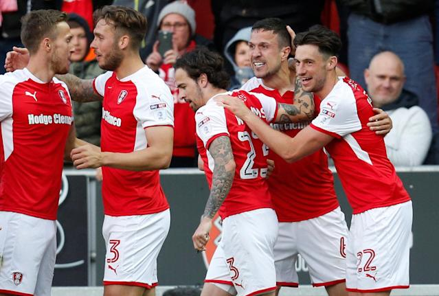 "Soccer Football - League One Play Off Semi Final Second Leg - Rotherham United vs Scunthorpe United - AESSEAL New York Stadium, Rotherham, Britain - May 16, 2018 Rotherham United's Richard Wood celebrates with team mates after scoring their first goal Action Images/Ed Sykes EDITORIAL USE ONLY. No use with unauthorized audio, video, data, fixture lists, club/league logos or ""live"" services. Online in-match use limited to 75 images, no video emulation. No use in betting, games or single club/league/player publications. Please contact your account representative for further details."