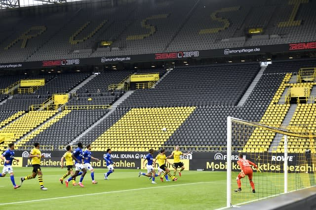The Bundesliga resumed action last month in front of empty stands (Martin Meissner/POOL)