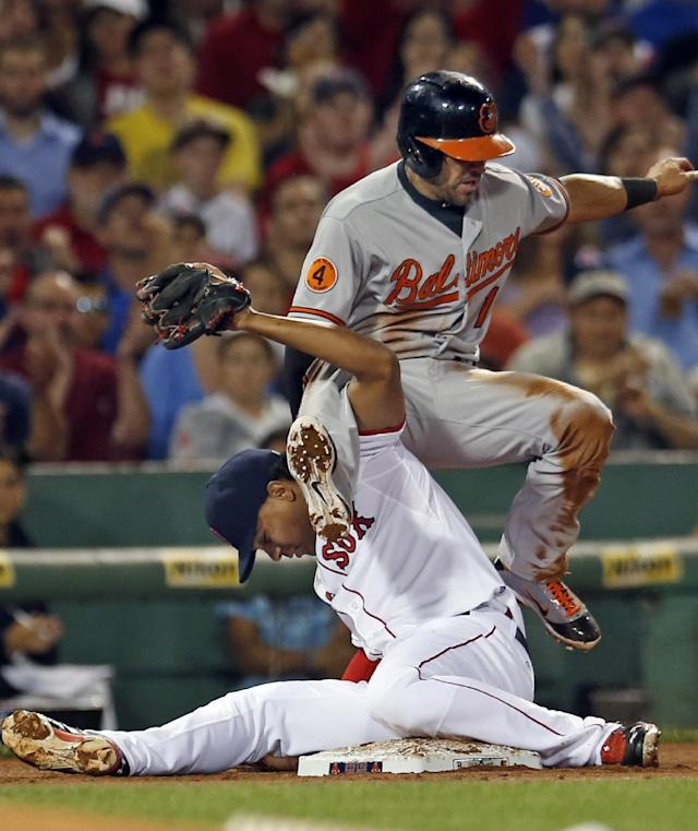 Baltimore Orioles' Brian Roberts, top, falls over Boston Red Sox third baseman Xander Bogaerts, who hangs onto the ball after tagging him out trying to steal third base, during the third inning of a baseball game at Fenway Park in Boston, Wednesday, Aug. 28, 2013. (AP Photo/Elise Amendola)