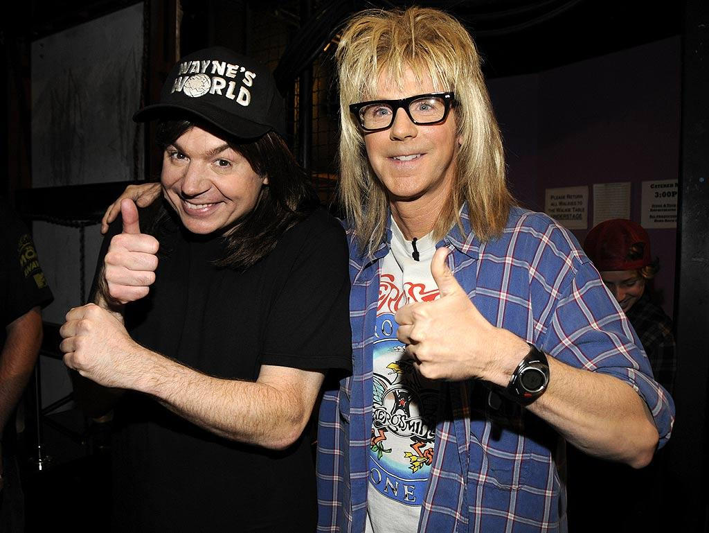 "Mike Myers and Dana Carvey dusted off their Wayne and Garth costumes and made their first appearance together in over ten years at the 2008 MTV Movie Awards, which were held at the Gibson Amphitheater in Universal City, California. Kevin Mazur/<a href=""http://www.wireimage.com"" target=""new"">WireImage.com</a> - June 1, 2008"