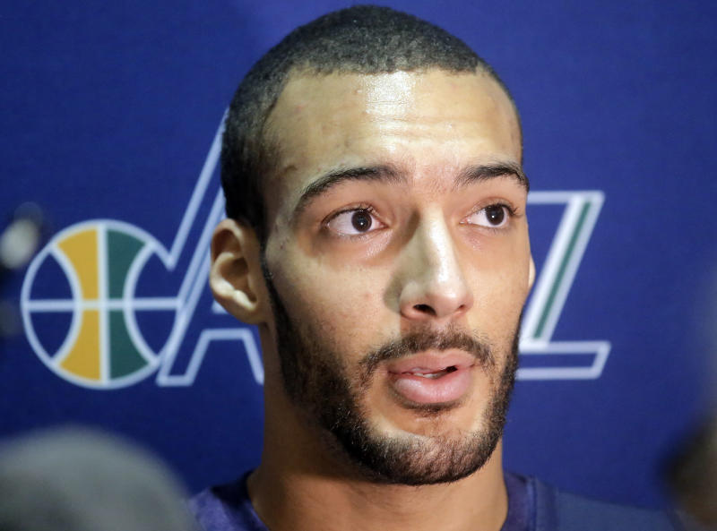 Utah Jazz center Rudy Gobert speaks with reporters following NBA basketball practice Thursday, April 27, 2017, in Salt Lake City. . The Jazz are 2-0 since Gobert's return and Utah has outscored the Los Angeles Clippers in the paint in both games by a combined 92-64. The Jazz lead the best-of-seven games series 3-2. (AP Photo/Rick Bowmer)