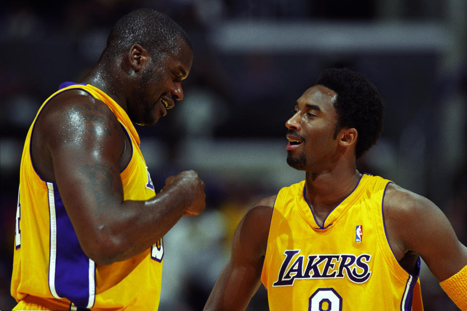 Shaquille O'Neal and Kobe Bryant of the Los Angeles Lakers.