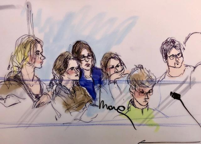 This sketch depicts Huffman partially hidden behind some of the others. (Image: Mona Shafer Edwards/Reuters)