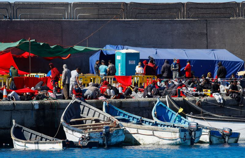 Over two thousand migrants rest in the Arguineguin harbour, in the Spanish island of Gran Canaria
