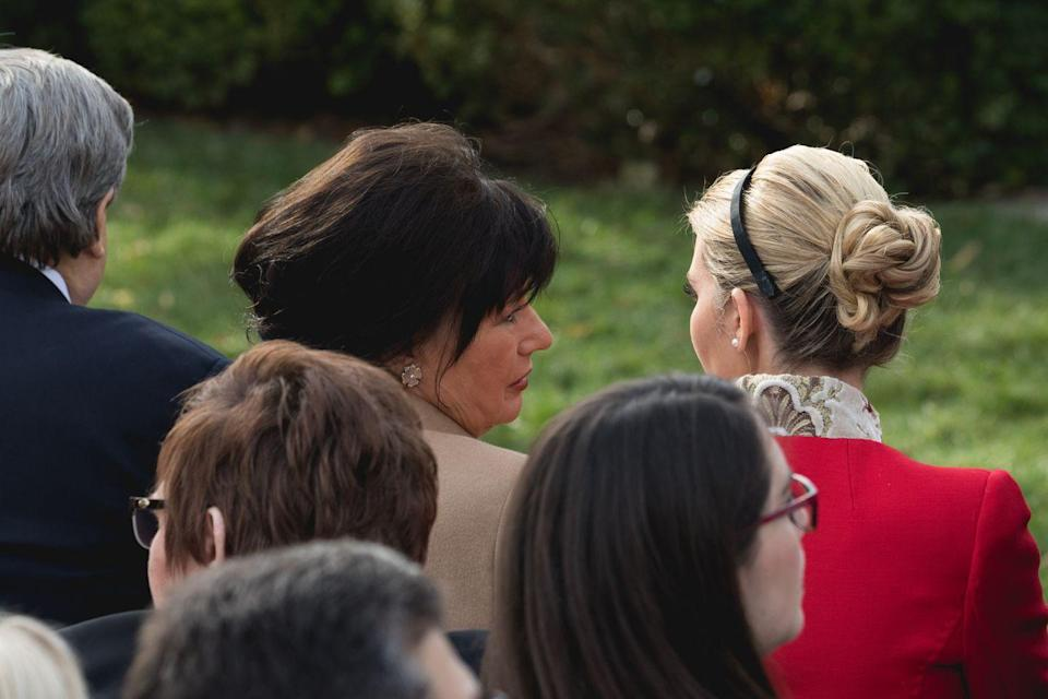 <p>Viktor and Amalija Knavs sat in the front row, next to Ivanka Trump and Jared Kushner, at the National Thanksgiving Turkey Pardoning Ceremony in the Rose Garden on November 21, 2017. They traveled to Mar-a-Lago with the first family to celebrating Thanksgiving, too.</p>