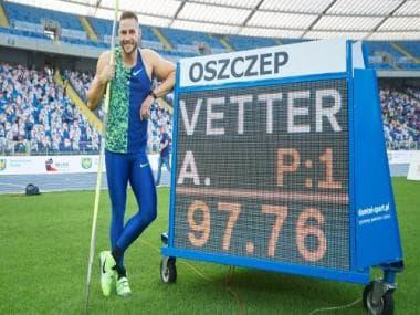 Former world champion Johannes Vetter records second-best javelin throw in history at Poland meet