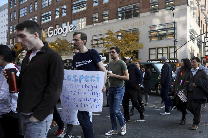 Google employees walk off the job to protest the internet company's lenient treatment of executives accused of sexual misconduct, in New York, November 1, 2018. Employees staged walkouts at offices from Tokyo to Singapore to London.