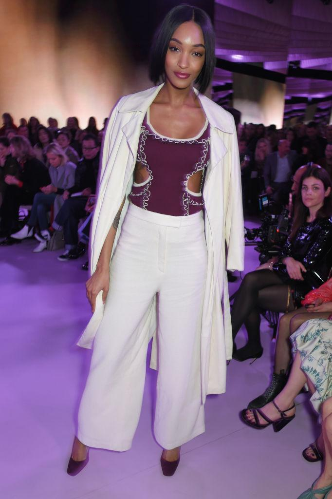 <p>Jourdan Dunn rocked cream co-ords at the Mulberry SS18 show. <em>[Photo: Getty]</em> </p>