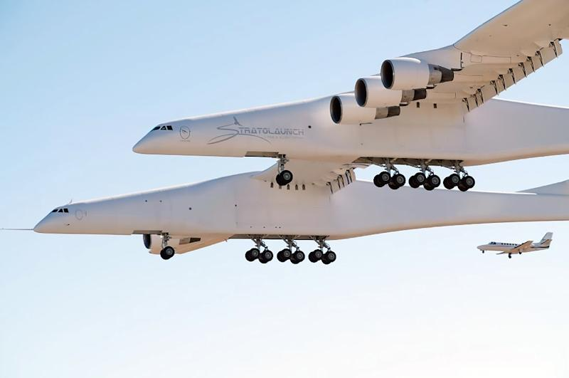 The Stratolaunch is so big its wing span is longer than a football field, or about 1.5 times that of an Airbus A380 (AFP Photo/Handout)