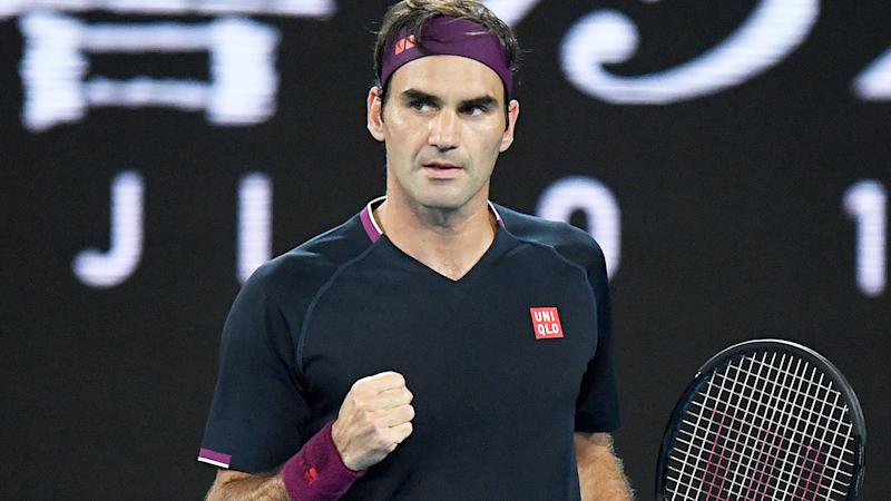 Roger Federer, pictured here celebrating his win at the Australian Open.