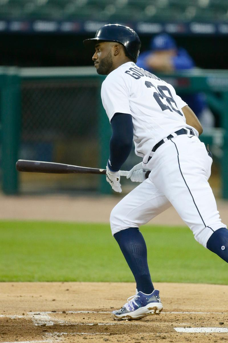 Niko Goodrum (28) of the Detroit Tigers hits an RBI double against the Kansas City Royals during the first inning at Comerica Park on Sept. 15, 2020, in Detroit.