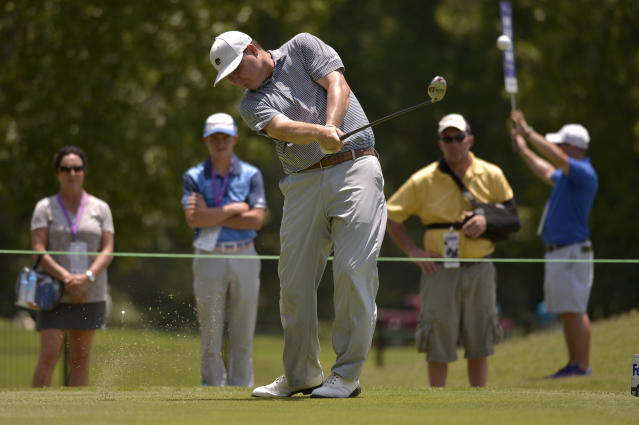 Chad Campbell tees off on the second hole during the final round of the St. Jude Classic golf tournament Sunday, June 11, 2017, in Memphis, Tenn. (AP Photo/Brandon Dill)