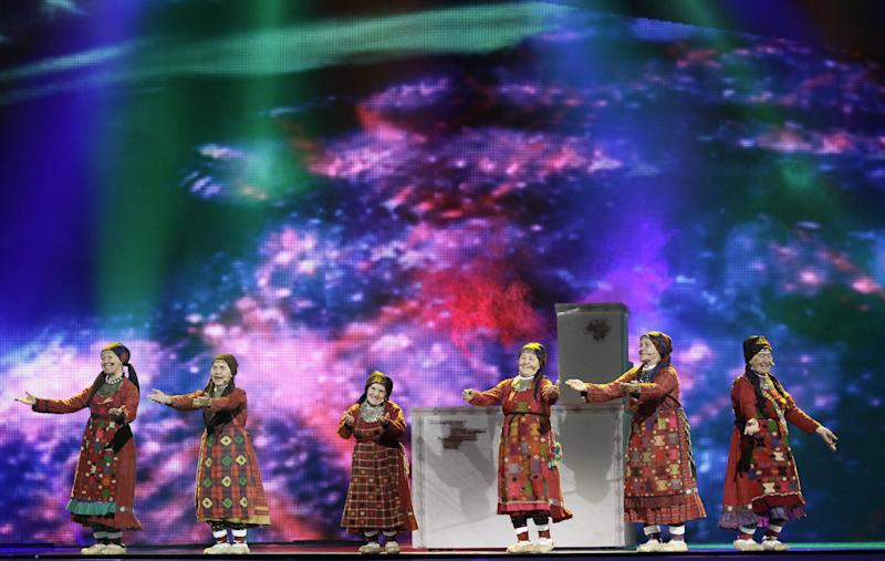 Russia Buranovskiye Babushki perform during rehearsal for the final show of the 2012 Eurovision Song Contest at the Baku Crystal Hall in Baku, Friday, May 25, 2012. The finals of the 2012 Eurovision Song Contest will be held at the stadium on May 26, 2012. (AP Photo/Sergey Ponomarev)