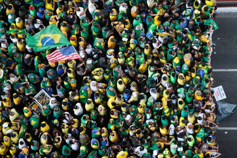 Supporters of Brazilian President Bolsonaro gather to back the far-right leader in his dispute with the Supreme Court, in Sao Paulo