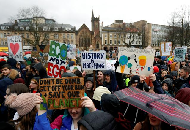 Protesters at the youth climate protest in Bristol. (Reuters/Peter Nicholls)