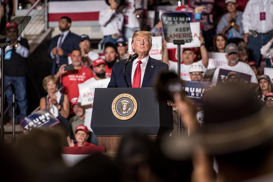 RIO RANCHO, NM - SEPTEMBER 16: President Donald J. Trump speaks during his Keep America Great Rally on September 16, 2019 at the Santa Ana Star Center in Rio Rancho, New Mexico. The rally marks President Trump's first trip to New Mexico as president and the start of his three-day trip to the western U.S. states. (Photo by Cengiz Yar/Getty Images)