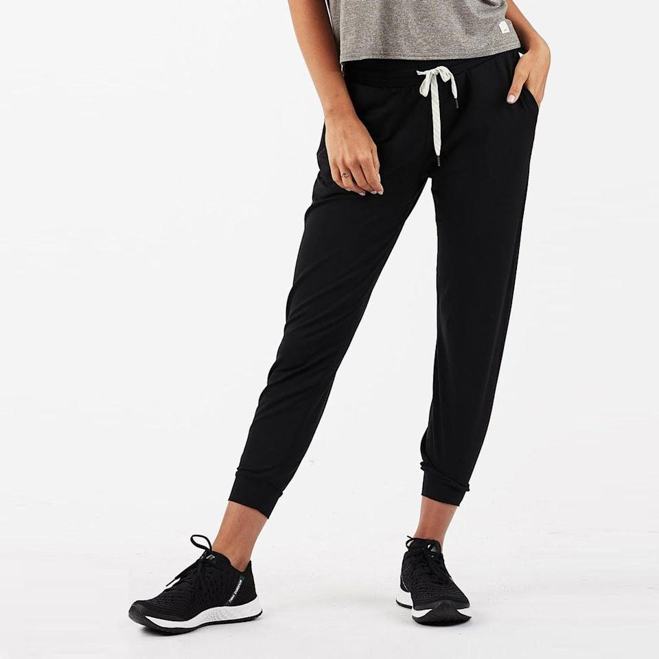 """<p><strong>Vuori</strong></p><p>vuoriclothing.com</p><p><strong>$84.00</strong></p><p><a href=""""https://go.redirectingat.com?id=74968X1596630&url=https%3A%2F%2Fvuoriclothing.com%2Fproducts%2Fwomens-performance-jogger-black%3Fgclid%3DCj0KCQiAhP2BBhDdARIsAJEzXlE1jslfPd9uM4H-nWJ99jO8CK38y_UcQ9meQ3UY0iRX8lvbzngqiZ0aAh_jEALw_wcB%26variant%3D32755427016807&sref=https%3A%2F%2Fwww.bestproducts.com%2Fparenting%2Fg31246132%2Ffirst-mothers-day-gift-ideas%2F"""" rel=""""nofollow noopener"""" target=""""_blank"""" data-ylk=""""slk:Shop Now"""" class=""""link rapid-noclick-resp"""">Shop Now</a></p><p>These pants are a gift to your butt. Vuori's Performance Joggers are the softest sweats on the planet. They are stretchy, smooth, flattering, and cute. Anyone who owns a pair tells everyone about them, all the time. </p>"""