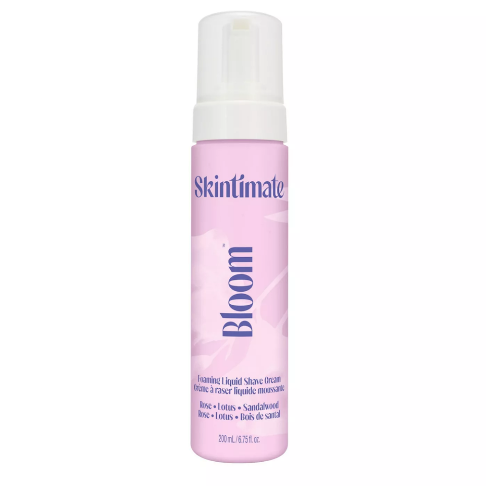 """<p><strong>Skintimate</strong></p><p>target.com</p><p><strong>$4.99</strong></p><p><a href=""""https://www.target.com/p/skintimate-bloom-hydrating-women-8217-s-shave-foam-8211-7-oz/-/A-76618630"""" rel=""""nofollow noopener"""" target=""""_blank"""" data-ylk=""""slk:Shop Now"""" class=""""link rapid-noclick-resp"""">Shop Now</a></p><p>But her self-care session doesn't stop at her face. For a velvety feel from head to toe on her skin, she grabs the Skintimate Bloom line. </p><p>""""It smells like rose and sandalwood and I'm walking around sniffing it,"""" she says. """"They have body lotion, body butter, body wash, and shaving gel. They're also free of parabens and dyes, and they're cruelty-free, so I really enjoy it.""""</p>"""