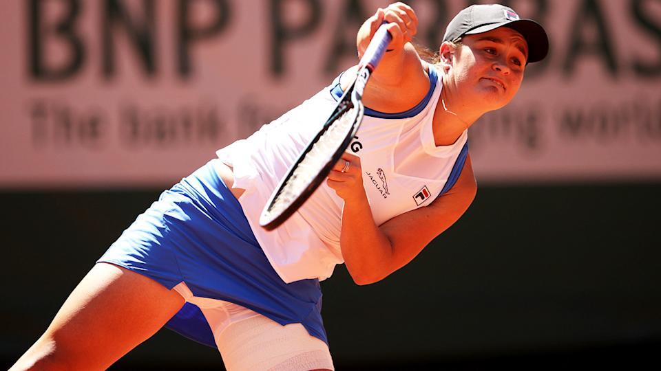 Ash Barty, pictured here with some heavy strapping on her thigh at the French Open.