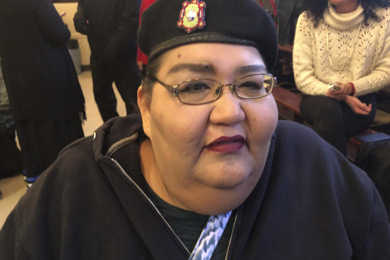 Joye Braun attends a hearing on a proposal to double the capacity of the Dakota Access pipeline on Wednesday, Nov. 13, 2019 in Linton, North Dakota. Braun, a community organizer with Indigenous Environmental Network and one of the leaders of the Dakota Access pipeline protest, says doubling the capacity of the pipeline also doubles the risk of an oil spill. (AP Photo/James MacPherson)