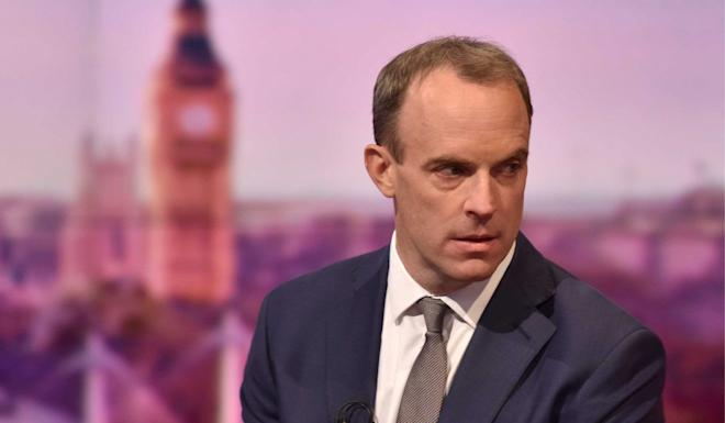 British Foreign Secretary Dominic Raab appears on a television talk show on Sunday. Photo: Reuters