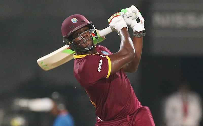 Carlos Brathwaite hits a six during the final of the ICC World Twenty20 2016  - AP