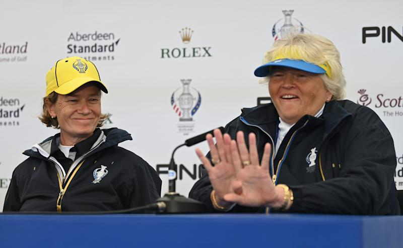 Captain Catriona Matthew and vice-captain Dame Laura Davies ahead of Europe's Solheim Cup clash with the United States at Gleneagles