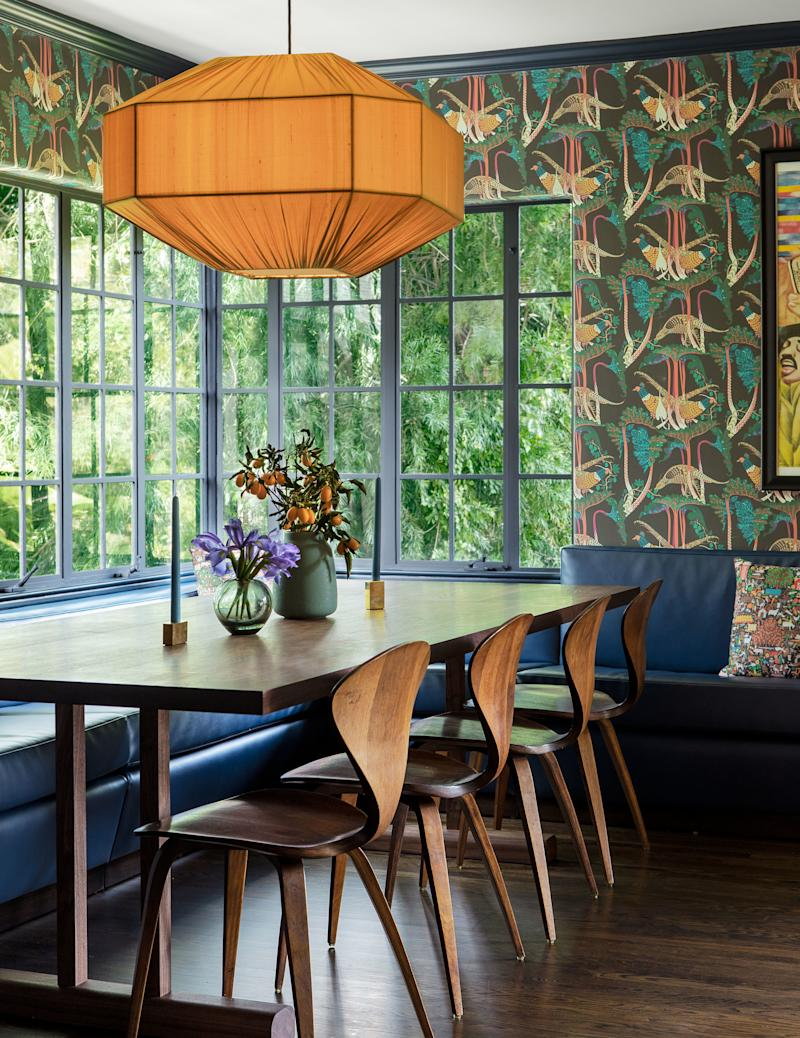Klaus Haapaniemi Pheasants wallpaper and a Ruemmler pendant in the dining room.