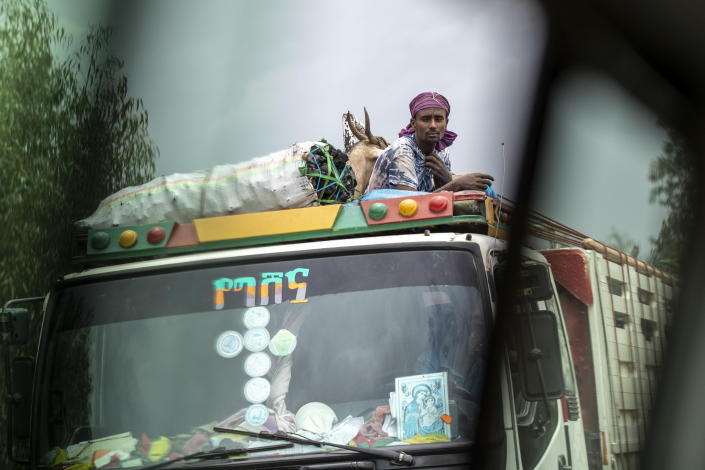 A man rides with goats and charcoal on the roof of a truck, seen through the window of a vehicle, near Danshe, a town in an area of western Tigray annexed by the Amhara region during the ongoing conflict, in Ethiopia Saturday, May 1, 2021. Ethiopia faces a growing crisis of ethnic nationalism that some fear could tear Africa's second most populous country apart, six months after the government launched a military operation in the Tigray region to capture its fugitive leaders. (AP Photo/Ben Curtis)