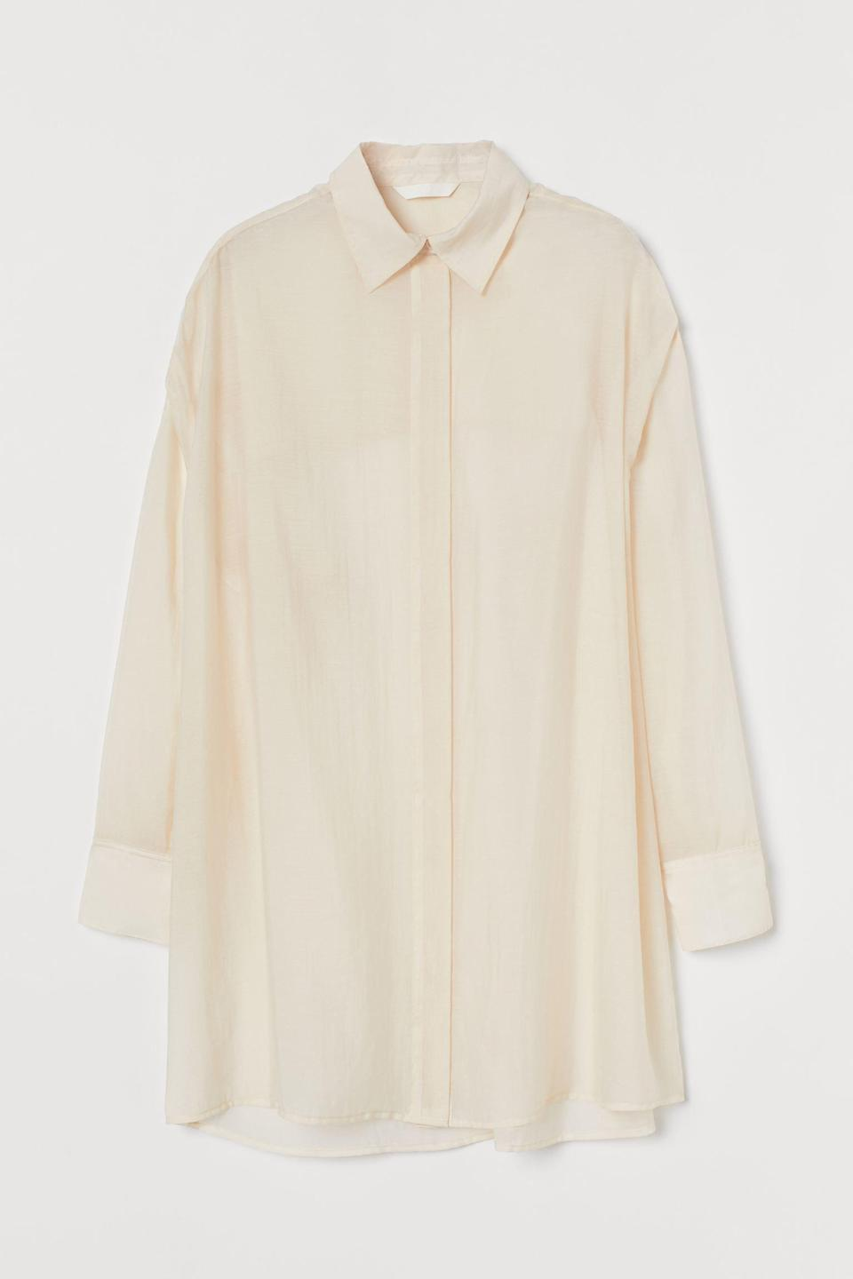 """<strong>— PAID —</strong><br><br>Our perfect spring """"home clothes"""" outfit recipe is this floaty button-down over any of the lingerie sets seen here.<br><br><strong>H&M</strong> Airy Lyocell-Blend Shirt, $, available at <a href=""""https://go.skimresources.com/?id=30283X879131&url=https%3A%2F%2Fwww2.hm.com%2Fen_us%2Fproductpage.0978872001.html"""" rel=""""nofollow noopener"""" target=""""_blank"""" data-ylk=""""slk:H&M"""" class=""""link rapid-noclick-resp"""">H&M</a>"""