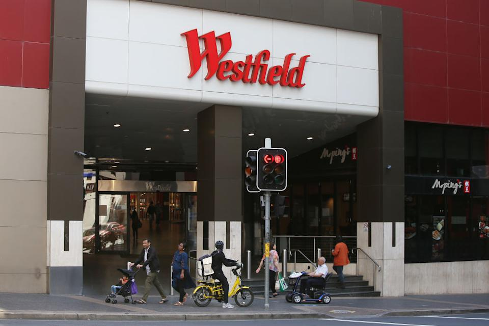 Shoppers are seen outside the Parramatta Westfield shopping centre.