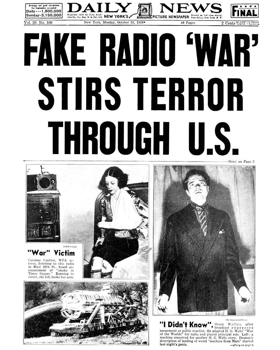 """<p>On October 30, 1938, Orson Welles's radio broadcast of the H.G. Wells novel <em>War of the Worlds</em> <span class=""""redactor-invisible-space"""">caused mass panic among listeners who believed Earth really had been invaded by Martians. </span></p>"""