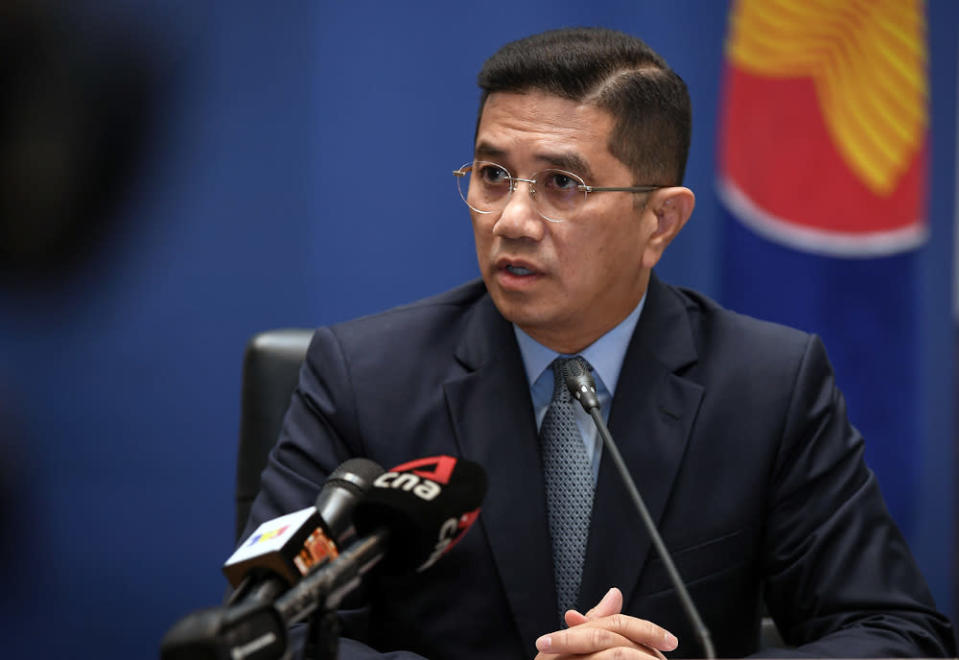 International Trade and Industry Minister Datuk Seri Mohamed Azmin Ali speaks during a press conference at the 37th Asean Summit in Kuala Lumpur November 10, 2020. — Bernama pic