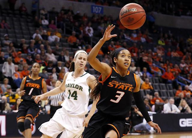 Oklahoma State guard Tiffany Bias (3) chases a loose ball in front of Baylor guard Makenzie Robertson (14) in the first half of an NCAA college basketball game in the semifinals of the Big 12 Conference women's college tournament in Oklahoma City, Sunday, March 9, 2014. Baylor won 65-61. (AP Photo/Sue Ogrocki)