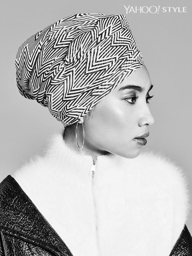 <p>Haute Hijab Uptown Girl Wrap, $20, hautehijab.com. Dior Coated Cotton Natte Tweed, $5,100, Available at Dior Boutiques Nationwide. Dior Stretch Angora Knit Sweater, $3,050, Available at Dior Boutiques Nationwide. Elsa Peretti for Tiffany & Co Diamond Hoop Earrings, $2,300, tiffany.com.</p>