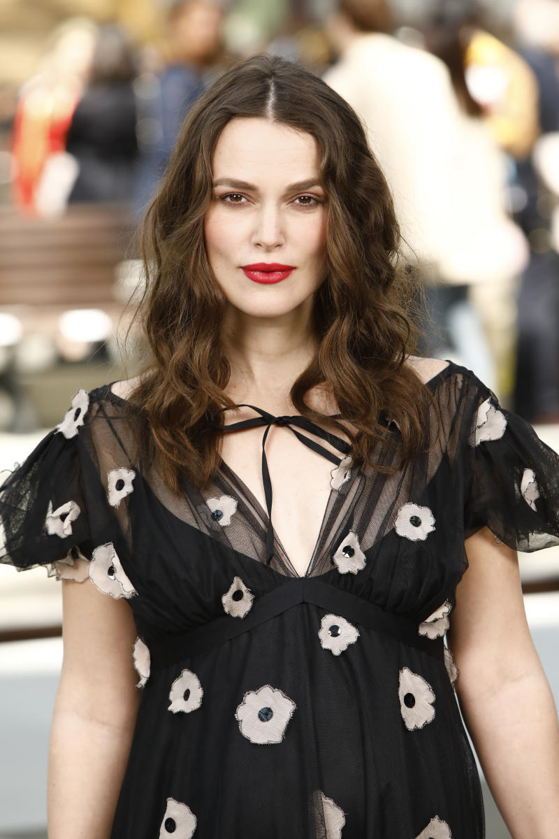 PARIS, FRANCE - MAY 03: Keira Knightley attends the Chanel Cruise 2020 Collection : Photocall In Le Grand Palais on May 03, 2019 in Paris, France. (Photo by Julien M. Hekimian/Getty Images for Chanel)