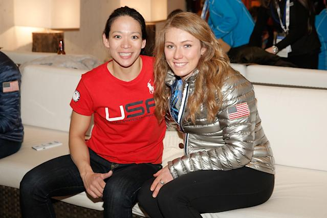 SOCHI, RUSSIA - FEBRUARY 22: U.S. Olympians Julie Chu and Mikaela Shiffrin visit the USA House in the Olympic Village on February 22, 2014 in Sochi, Russia. (Photo by Joe Scarnici/Getty Images for USOC)