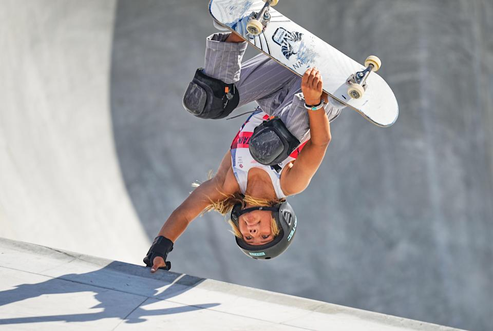 <p>Sky Brown from Great Britain during women's park skateboard at the Olympics at Ariake Urban Park, Tokyo, Japan on August 4, 2021. (Photo by Ulrik Pedersen/NurPhoto via Getty Images)</p>