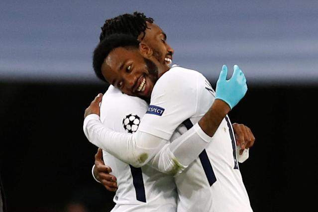 Tottenham's Georges-Kevin Nkoudou celebrates with Danny Rose at the end of the match
