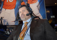 FILE - This Jan. 29, 2014 file photo shows former Denver Broncos offensive lineman and ESPN analyst Mark Schlereth in New York. Schlereth returned home to Alaska this week to encourage people to get the COVID-19 vaccine. The Service High alumnus made a halftime appearance Friday, Aug. 20, 2021 at West High, where his alma mater squared off against the West Eagles. (AP Photo/Jack Dempsey, File)