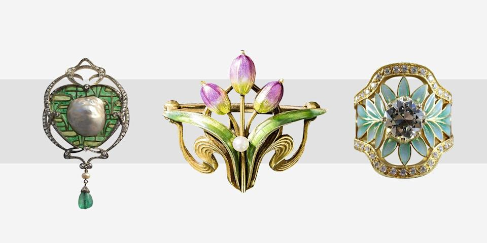 """<p><em>Our new column """"One Fine Detail"""" showcases the best of wedding jewelry, with stories about stunning engagement rings, sentimental family heirlooms, and all the beautiful pieces that help to add a little sparkle to your special day.</em></p><p>A precedent for the <a href=""""https://www.townandcountrymag.com/style/jewelry-and-watches/a30122228/art-deco-jewelry-design-history/"""" rel=""""nofollow noopener"""" target=""""_blank"""" data-ylk=""""slk:Art Deco"""" class=""""link rapid-noclick-resp"""">Art Deco</a> movement, the Art Nouveau period of design was brief (it spanned from the 1890s to the early 1910s) and was characterized by undulating lines and soft curves with natural motifs such as plants, flowers, birds, animals, and the female body featured as the cornerstone of design. The stylized movement, which extended to jewelry, found stones such as agate, garnet, and opal as the pet gems of the period, while techniques like enameling reigned supreme. </p><p>Another hallmark of the era when it came to jewelry design were long necklaces punctuated with stained glass, pearls, and of course, pendants, as ornamental detailing. During this highly influential, yet short-lived aesthetic movement, illustrative details reigned supreme, with Rene Lalique and Louis Comfort Tiffany emerging as the popular names of the era. And though the movement is long over, over a century later, design has once again turned back to Art Nouveau, with jewelry of the era becoming increasingly popular with collectors and even brides. From <a href=""""https://www.townandcountrymag.com/style/jewelry-and-watches/g35449356/art-deco-engagement-rings/"""" rel=""""nofollow noopener"""" target=""""_blank"""" data-ylk=""""slk:stunning engagement rings"""" class=""""link rapid-noclick-resp"""">stunning engagement rings</a> to ornate bracelets, pins, and cufflinks, here are some of the best art nouveau jewelry pieces (mostly vintage) to wear for a wedding, or add to your collection.</p>"""