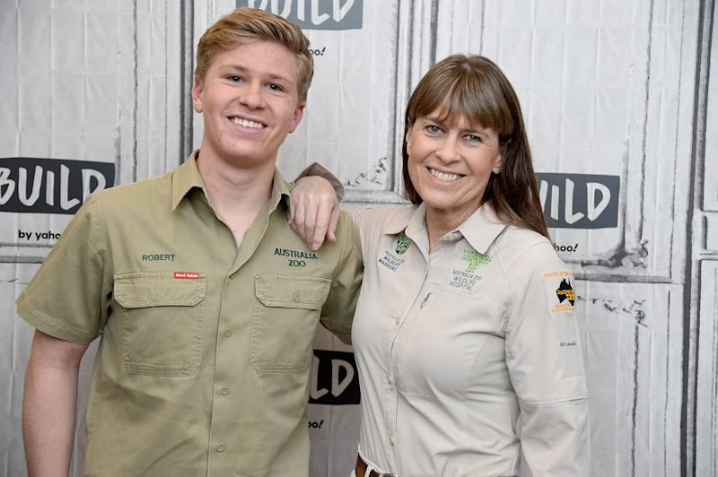 "NEW YORK, NEW YORK - NOVEMBER 15: Naturalists Robert Irwin and Terri Irwin visit the Build Series to discuss Steve Irwin Day and the 2nd season of ""Crikey: It's the Irwins"" at Build Studio on November 15, 2019 in New York City. (Photo by Gary Gershoff/Getty Images)"