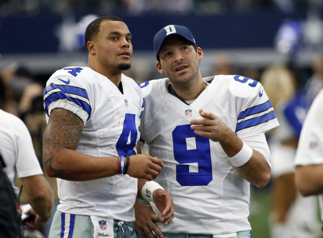 A year ago, Dak Prescott, left, and Tony Romo were Cowboys teammates. On Sunday, Romo will be part of the CBS broadcast team as Dallas plays the Chiefs. (AP)