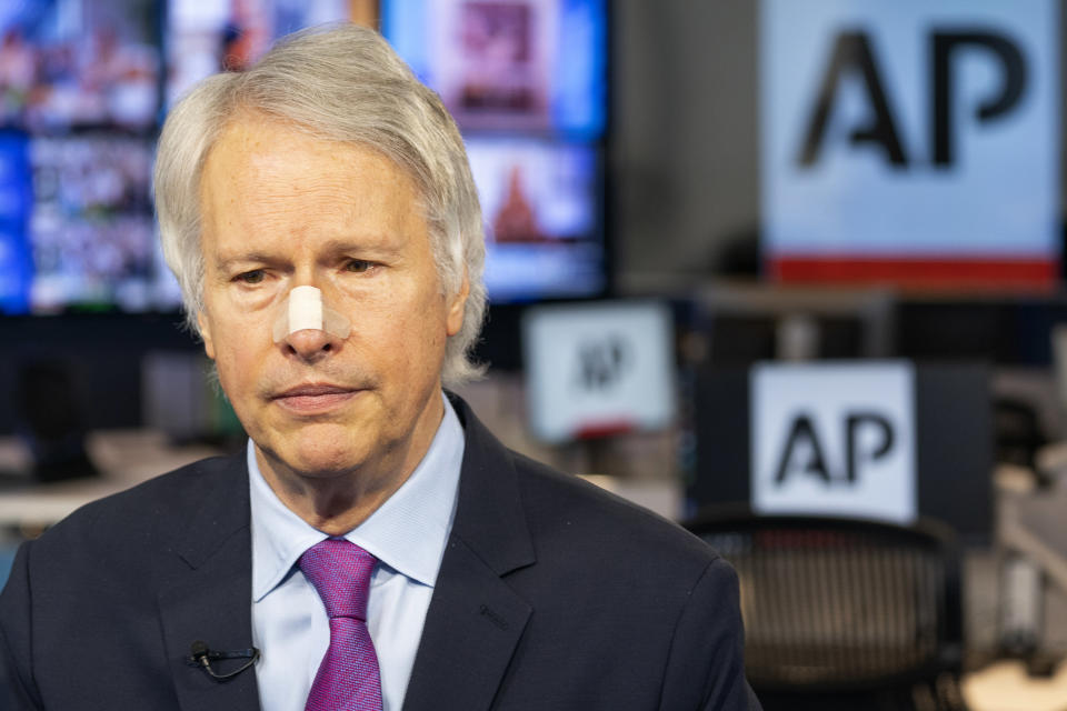 Gary Pruitt, President and CEO of the Associated Press, makes a statement, Saturday, May 15, 2021, in New York, regarding the Israeli military attack on the building housing AP's bureau and other news organizations in Gaza. (AP Photo/Mary Altaffer)