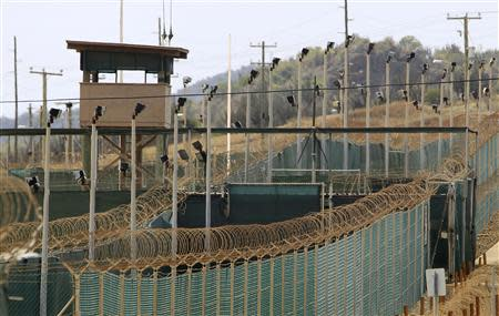The exterior of Camp Delta is seen at the U.S. Naval Base at Guantanamo Bay