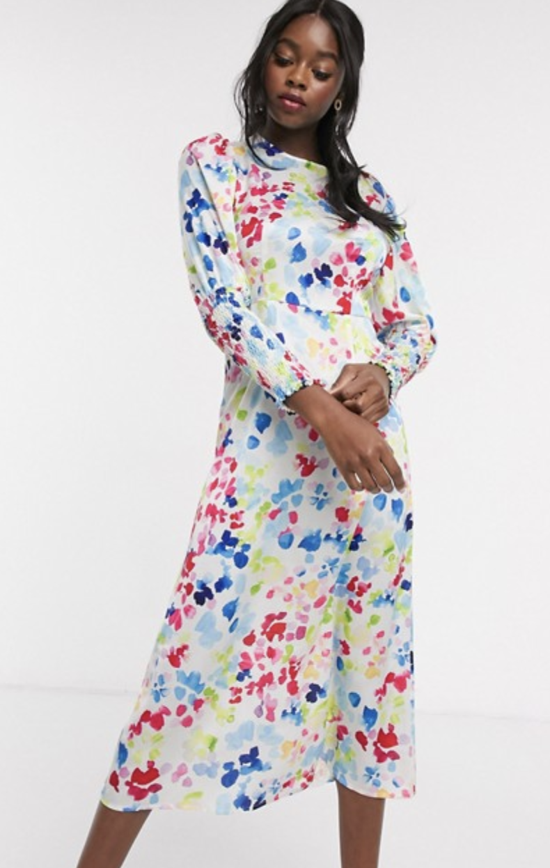 Never Fully Dressed Long Shirred Sleeve Midi Dress