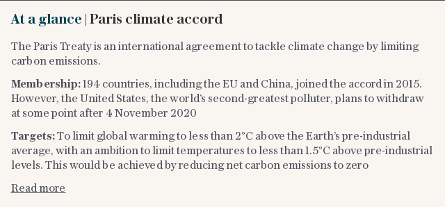 At a glance | Paris climate accord