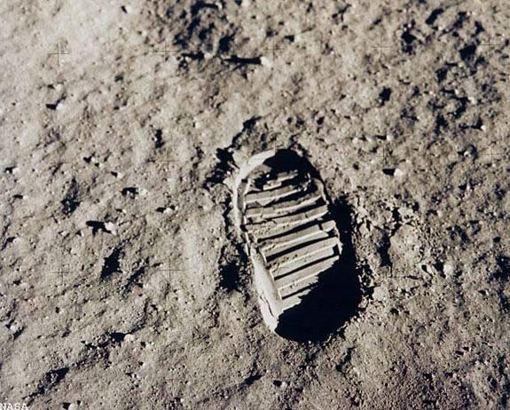 Apollo 11 astronaut Edwin Aldrin photographed this iconic photo, a view of his footprint in the lunar soil, as part of an experiment to study the nature of lunar dust and the effects of pressure on the surface during the historic first manned