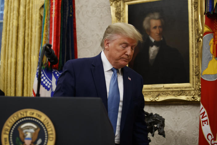 President Donald Trump departs after a ceremony to present the Presidential Medal of Freedom to former Attorney General Edwin Meese, in the Oval Office of the White House, Tuesday, Oct. 8, 2019, in Washington. (AP Photo/Alex Brandon)